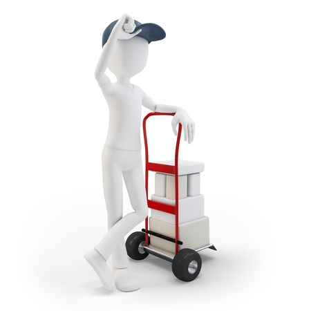 mail man: 3d man with cart and boxes  on white background Stock Photo