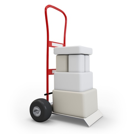 package sending: 3d hand truck with boxes on white background Stock Photo