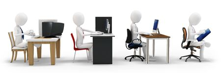 computer chair: 3d man with computer evolution concept on white background
