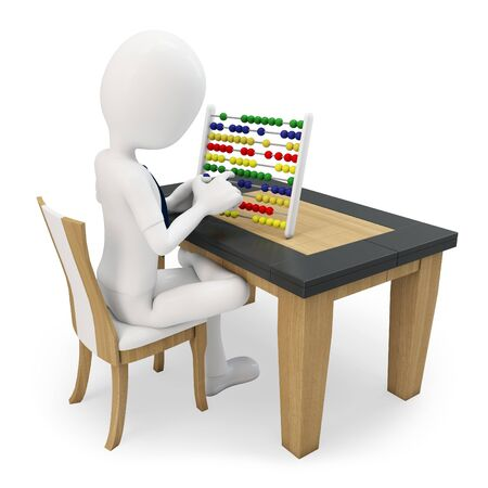 the bookkeeper: 3D man working with an abacus on white background Stock Photo