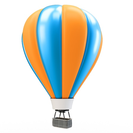 3d blue and orange balloon isolated on white Stock Photo - 17360541