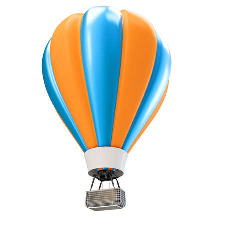 hot air ballon: 3d blue and orange balloon isolated on white