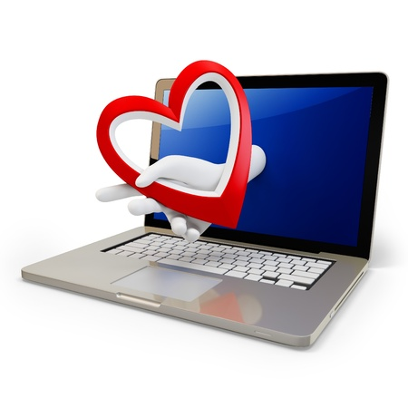 3d hand with a heart and laptop on white background photo