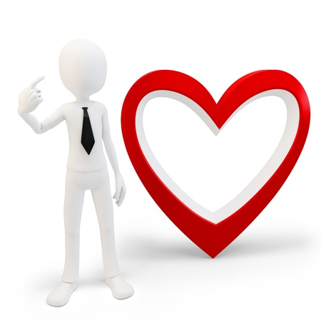 3d man with big red heart, love concept on white background photo