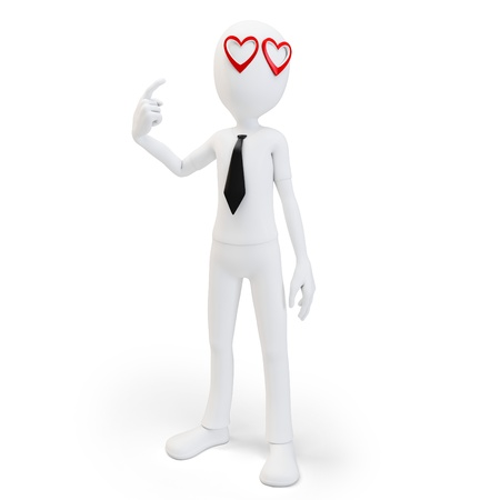 3d man with red hearts in his eyes , love concept on white background photo