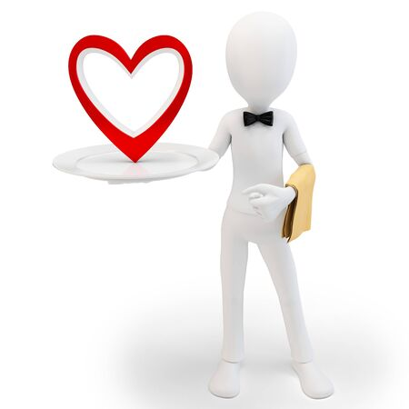 3d man steward with big red heart, love concept on white background photo