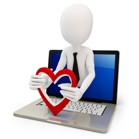 3d man with red heart and laptop on white background photo