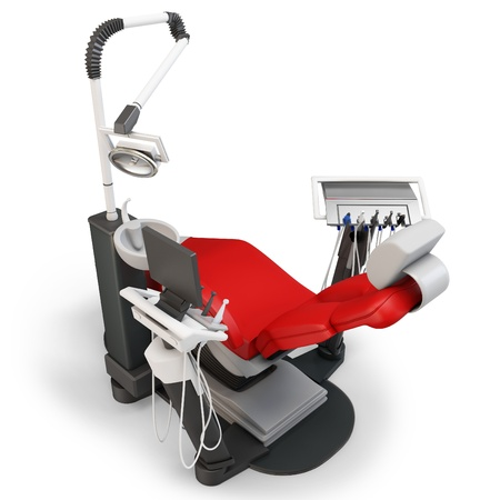 abstract tooth: 3d dentist chair isolated on white