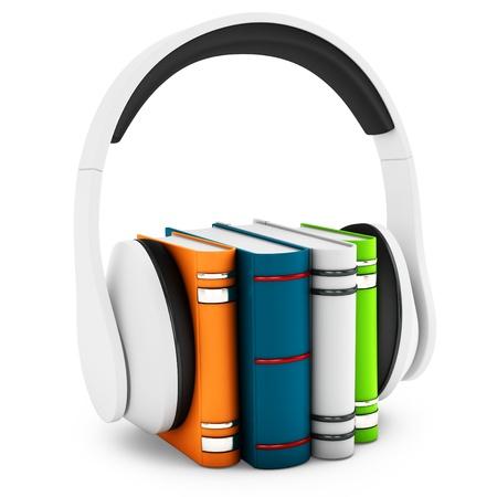 3d hoofdtelefoon met boeken audio-boek concept op witte achtergrond Stockfoto