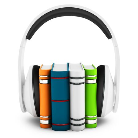 hardcovers: 3d headphones with books audio-book concept on white background