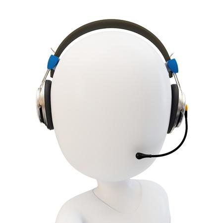 3D man callcenter ondersteuning met een koptelefoon op witte achtergrond