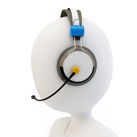 phone operator: 3d man call center support with headphones on white background