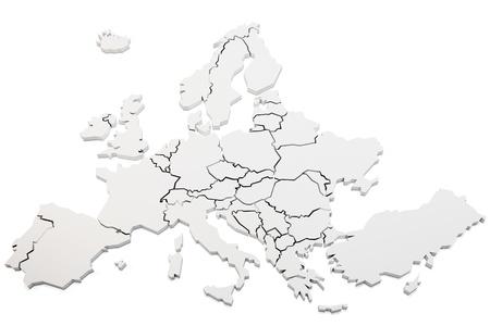 3d kaart van europa rendering op witte achtergrond