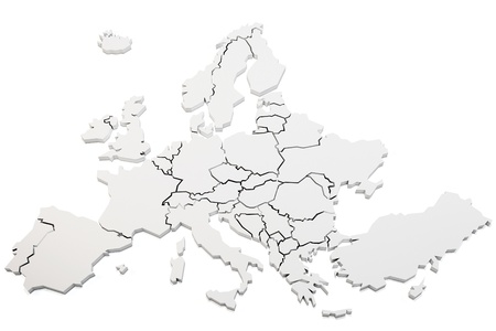 3d map of europe rendering on white background