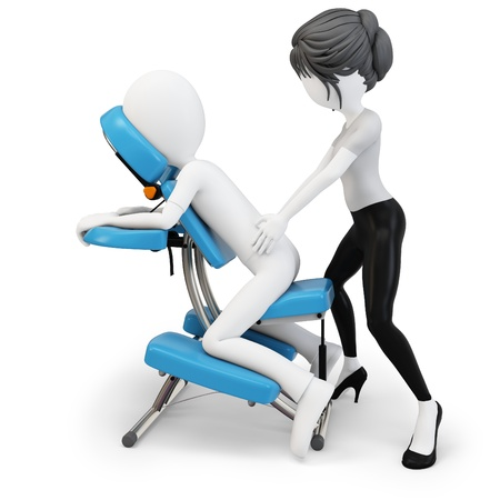 3d man an masseuse with massage chair on white background Stock Photo