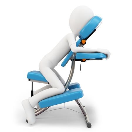 homme massage: Homme 3d et chaise de massage sur fond blanc Banque d'images