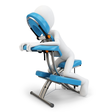workplace wellness: 3d man and massage chair on white background