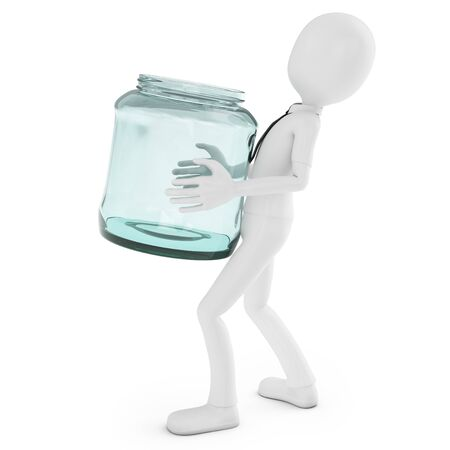 3d man with glass jar on white background photo