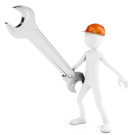 mechanic man: 3d man engineer with wrench on white background