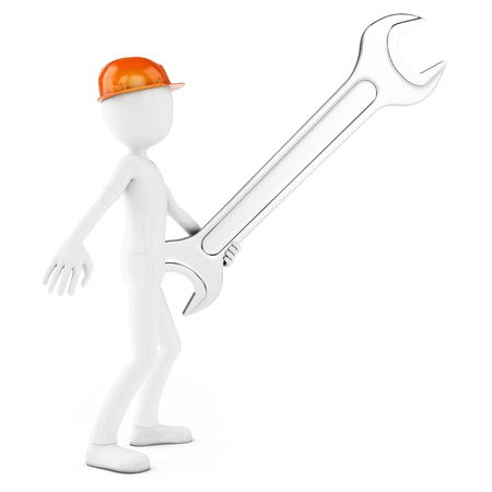 3d man engineer with wrench on white background photo