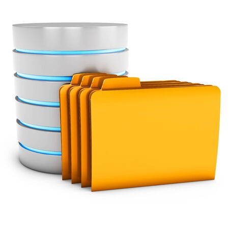 mainframe computer: 3d database server with folder on white background Stock Photo