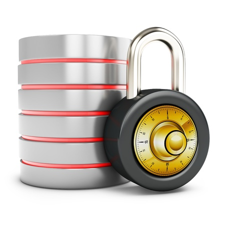 data protection: 3d database with padlock security concept on white background Stock Photo