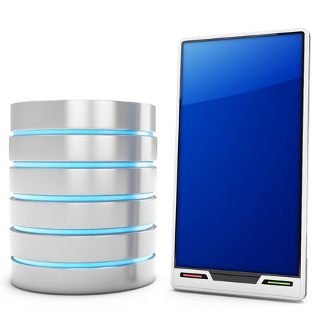 mainframe computer: 3d database server with mobile smartphone on white background Stock Photo