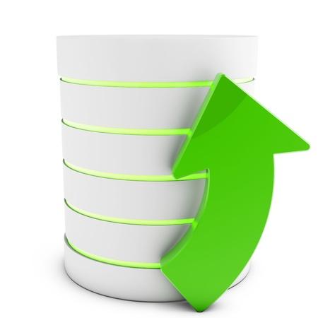 3d database with uploading symbol arrow isolated on white background Stock Photo - 18182318