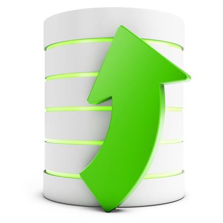 3d database with uploading symbol arrow isolated on white background Stock Photo - 18182306