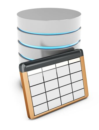 3d database table on white background photo