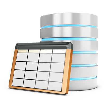 data base: 3d database table on white background