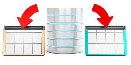 dataflow: 3d database saving data in tables on white background Stock Photo