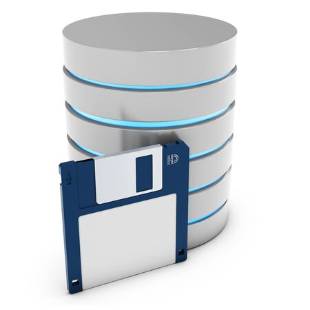 3d database with floppy disk on white background photo
