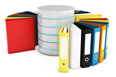 data base: 3d database with file holders on white background