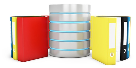 3d database with file holders on white background Stock Photo - 18221627