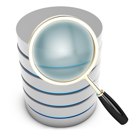 3d database searching with magnifying glass on white background Stock Photo - 18221691