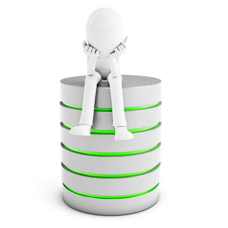 hosts: 3d man thinking with database server isolated on white background