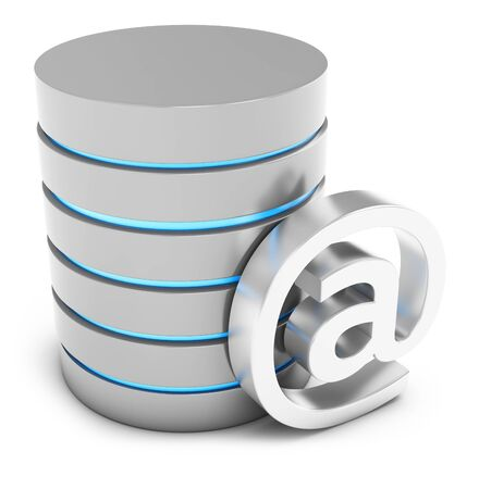 http: 3d database with mail symbol on white background