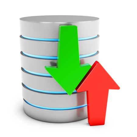 data backup: 3d database with green download and red upload arrows on white background Stock Photo