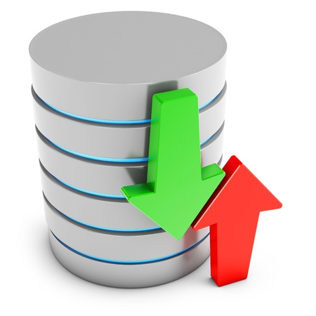 3d database with green download and red upload arrows on white background Stock Photo - 18221702