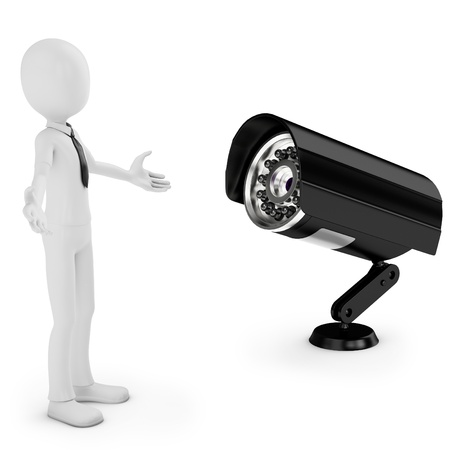 3d  business man with security camera on white background photo