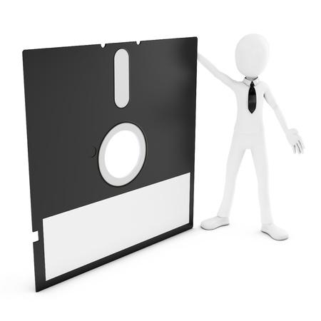 3d Mann mit Diskette auf weißem Hintergrund Standard-Bild