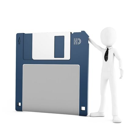 archiving: 3d man with floppy disk on white background Stock Photo