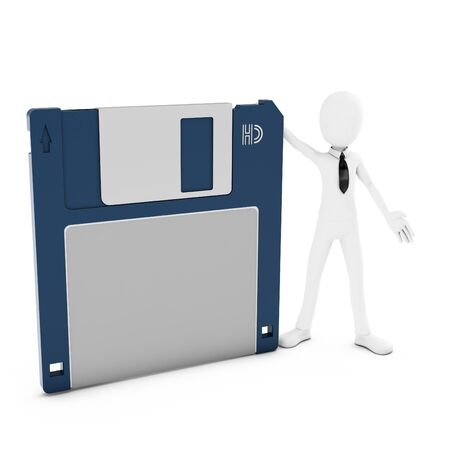 salvaging: 3d man with floppy disk on white background Stock Photo