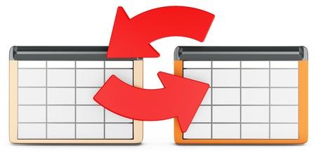 dataflow: 3d database tables on white background