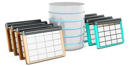 3d database tables on white background photo