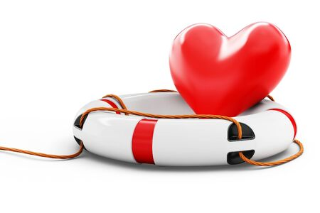 3d heart with lifebuoy isolated on white background  Stock Photo