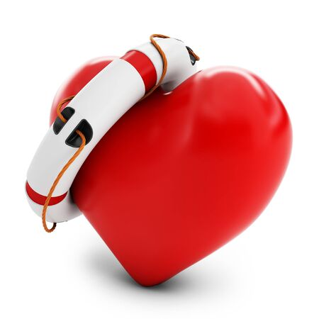 truelove: 3d heart with lifebuoy isolated on white background  Stock Photo