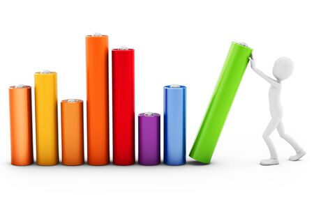 financial obstacle: 3d man pushing a bar chart on white background