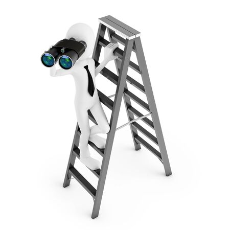 white carpet: 3d man with binocular on a ladder isolated on white background